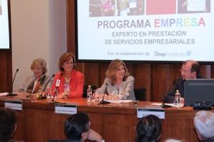 En la imagen aparecen (derecha a izq): Fernando Vives, Presidente de Garrigues; Engracia Hidalgo, Secretaria de Estado de Empleo; Soledad Herreros de Tejada; Presidenta de la Fundación PRODIS y Gloria Alemán, Presidenta de la Fundación GMP.